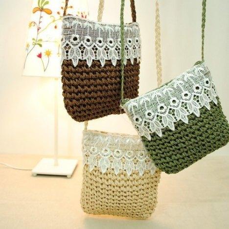 手工纸绳编织蕾丝勾花花边拉链草包