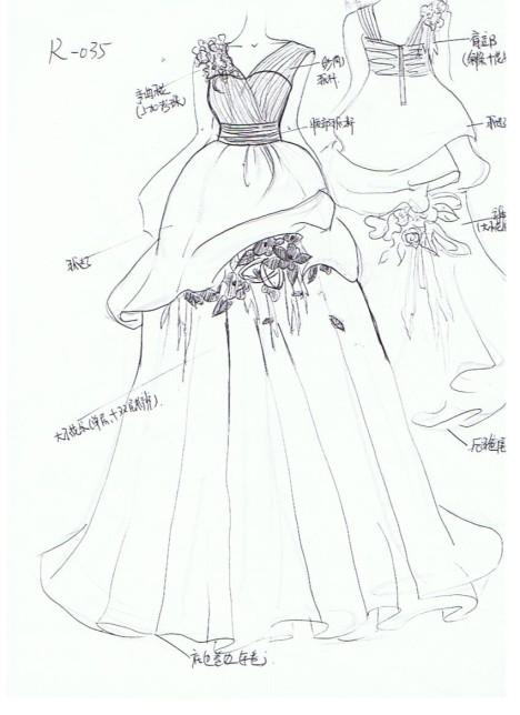 公主裙女设计图片手绘