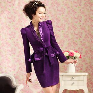 紫色宫廷半身裙搭配图片