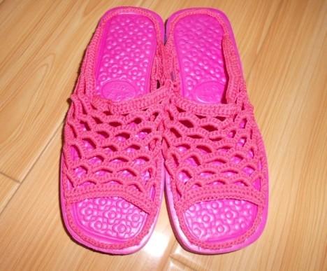 手工织毛线拖鞋搭配图片