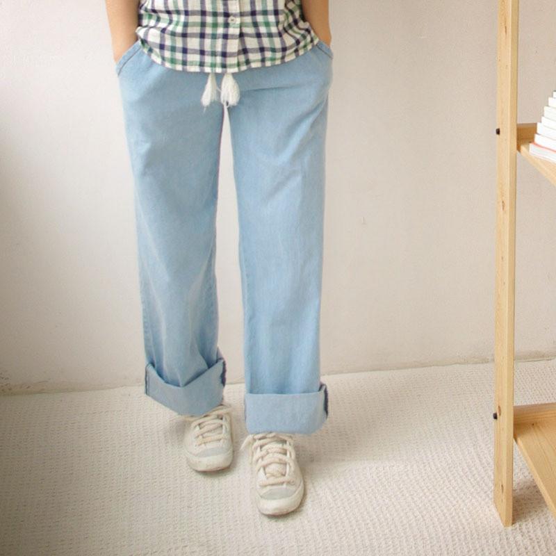 直筒阔腿牛仔裤搭配