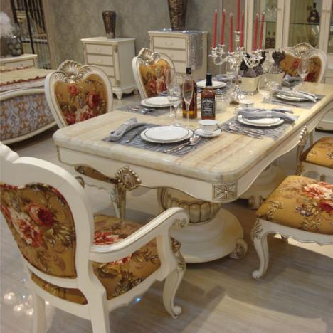 欧式长方形餐桌搭配图片