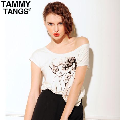 欧美风个性t恤女款纯棉露肩白色短袖涂鸦头像情侣衫