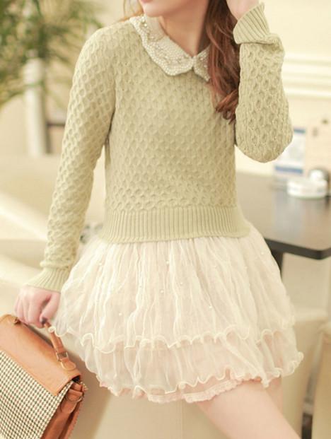【图】网友推荐单品:珍珠网纱下摆细针日系甜美毛衣细