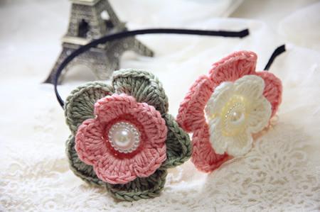 【图】网友推荐单品:手工毛线编织钩织花珍珠发箍头箍