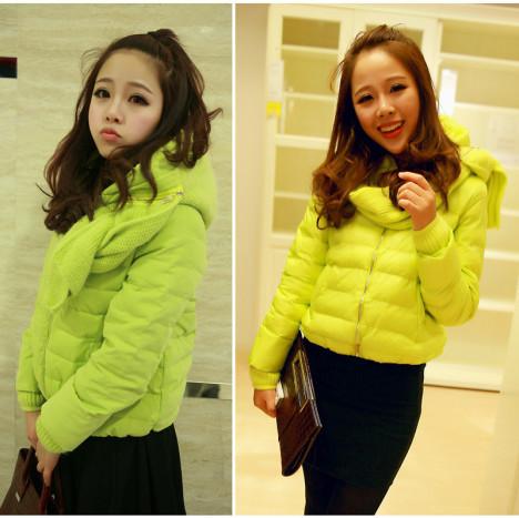 正品荧光绿潮流韩版 可爱女生修身气质短款羽绒服