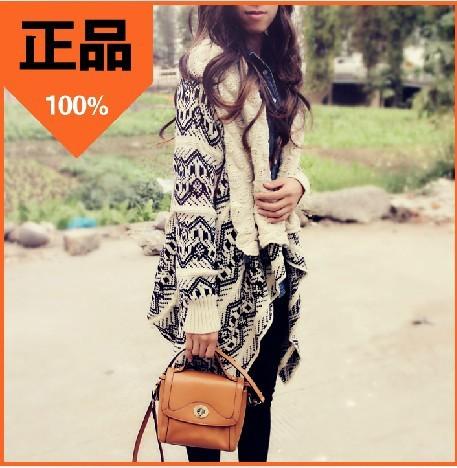 韩版不规则披肩提花毛衣几何图案风菱形格提花中长款