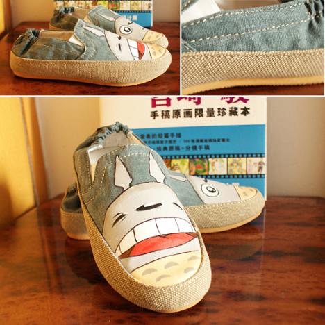 龙猫手绘鞋 帆布鞋 手绘情侣鞋