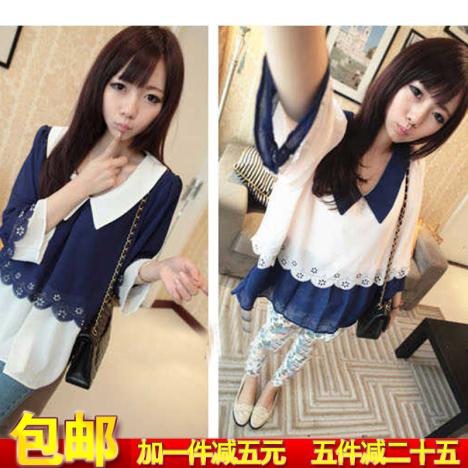 新款雪纺衬衫韩国衣服女装韩版夏装学生闺蜜姐妹装潮