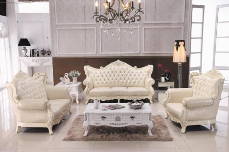 真皮沙发 客厅沙发组合 欧式 现代 时尚 奢华 实木花雕 大气 贴银