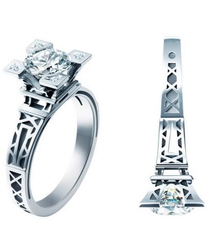 法国埃菲尔铁塔 香榭之吻戒指1克拉超莫桑钻戒