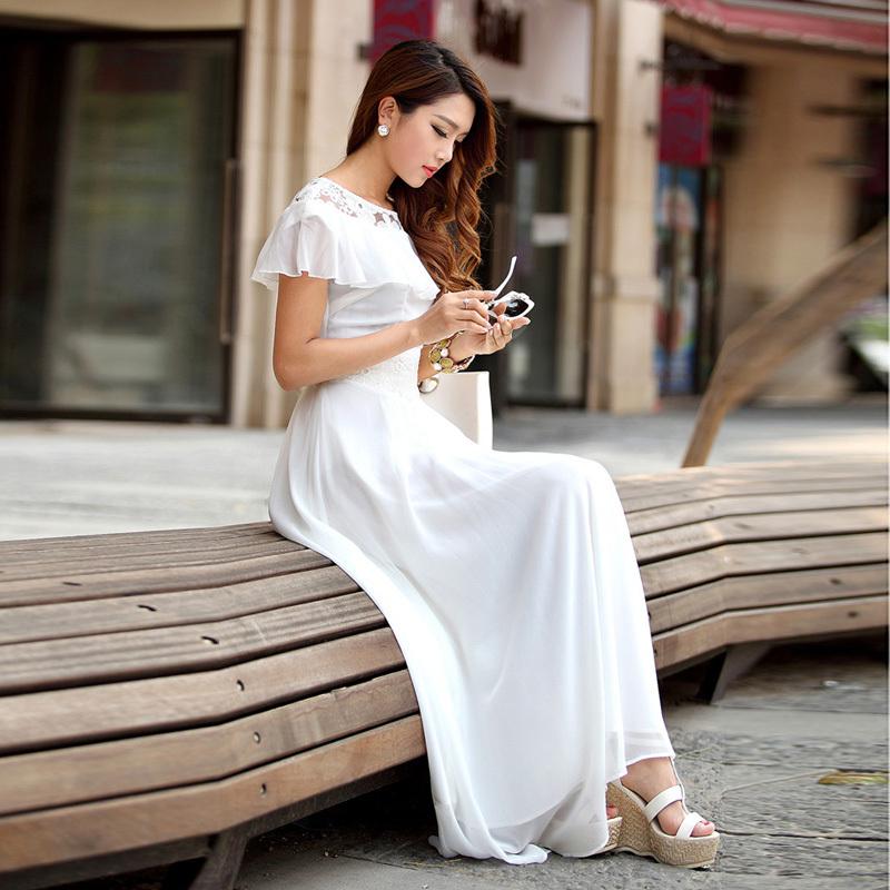 白色连衣拖地长裙搭配图片