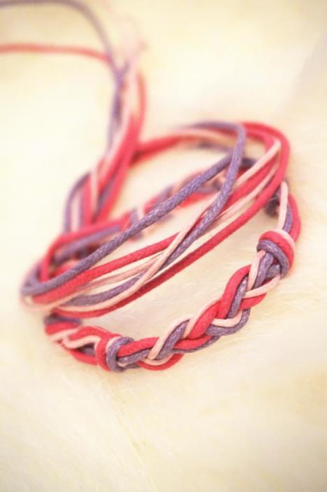 绳子编织手链搭配图片
