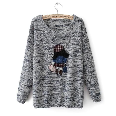 装新款女式毛衣 韩版休闲复古小孩图案