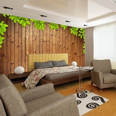 木板树叶电视沙发背景墙纸