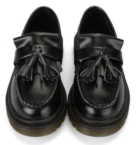 martens黑英伦复古学院原宿流苏低帮马丁鞋皮鞋平跟
