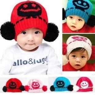 秋冬季可爱笑脸双球儿童宝宝毛线帽子