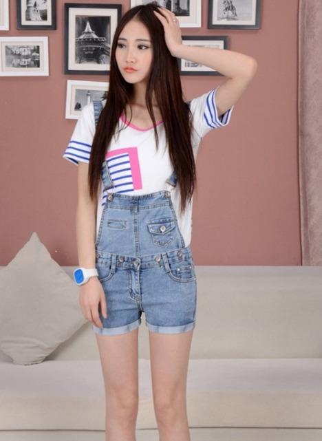 牛仔短裤女夏背带搭配图片