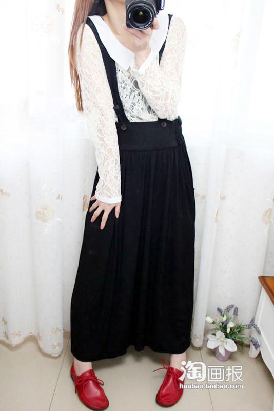 黑色棉质背带裙搭配图片