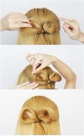 蝴蝶结发型扎法步骤