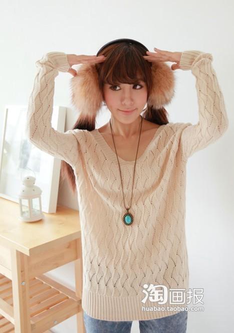 桔黄色麻花纹毛衣,青春时尚