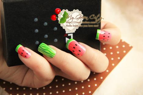 【水果指甲】西瓜草莓的夏天气氛美甲