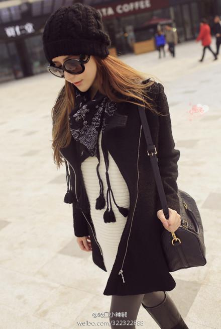 lv黑色围巾搭配图片