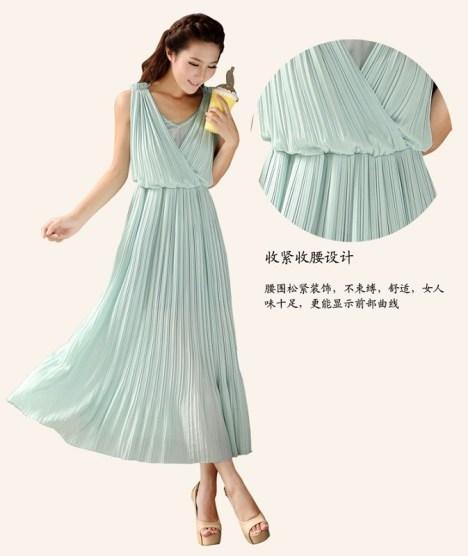 蓝绿色背心裙搭配图片