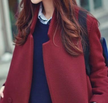 【酒红色中长款呢大衣】-衣服-服饰鞋包