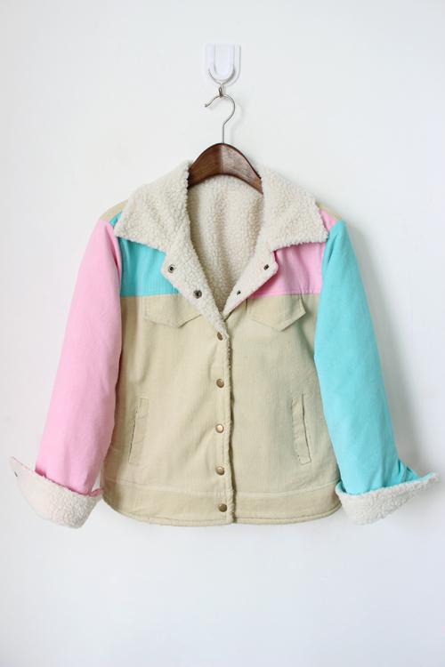 可爱撞色棉服外套