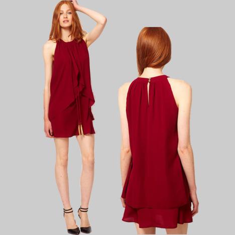 酒红色无袖背心裙连衣裙搭配