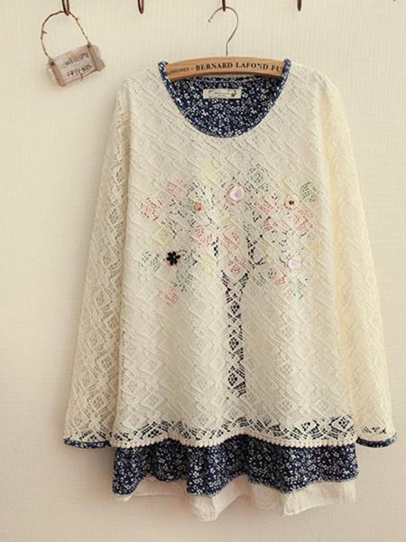 【白色镂空花纹长袖蕾丝衫】-衣服-雪纺衫/蕾丝衫