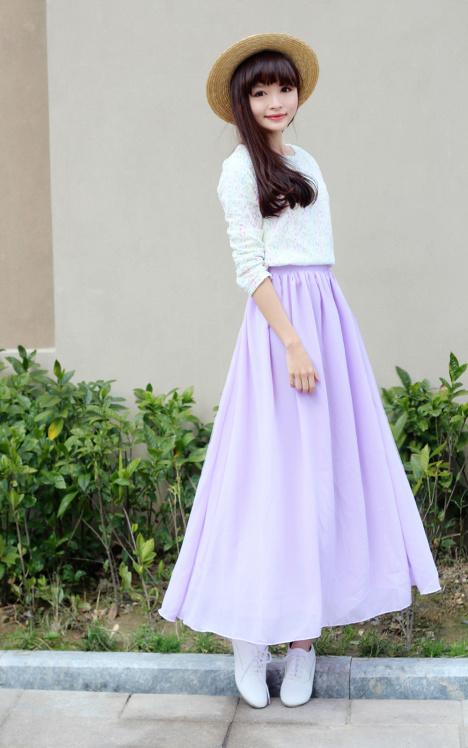 紫色小摆裙上衣搭配图片