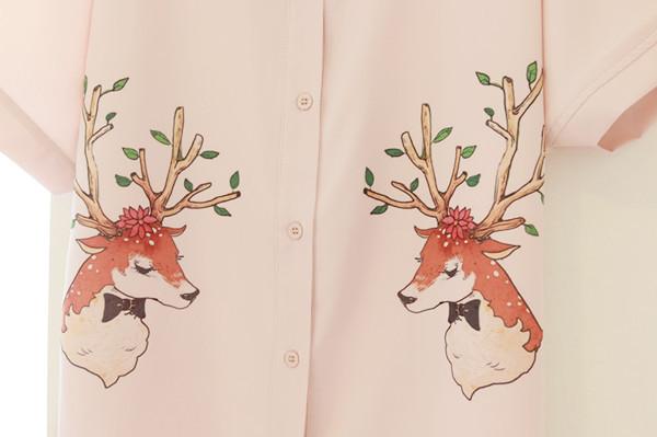 【刺绣印花鹿衬衫】-衣服-衬衫