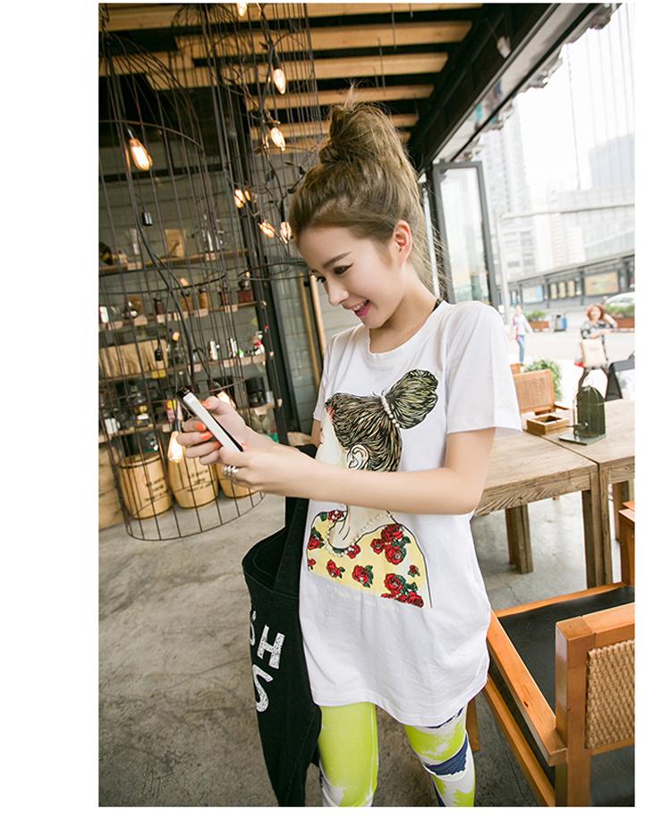 【韩版女生人脸印花中长款t恤】-衣服--遇见·韩风-街