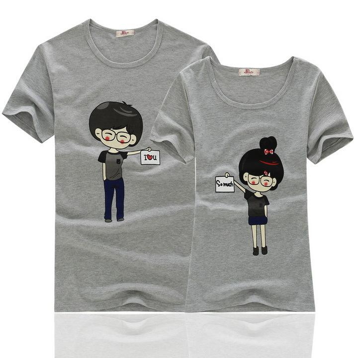 韩国新款可爱卡通情侣短t