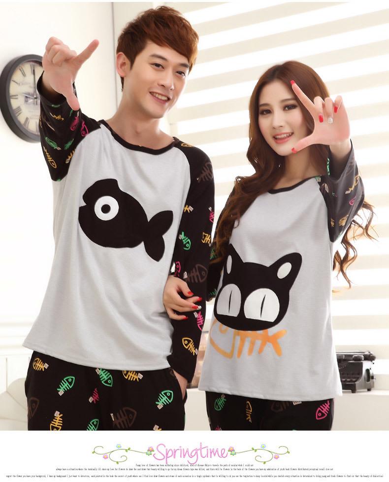 【可爱卡通猫和鱼情侣睡衣】-衣服-美之家纯棉睡衣服