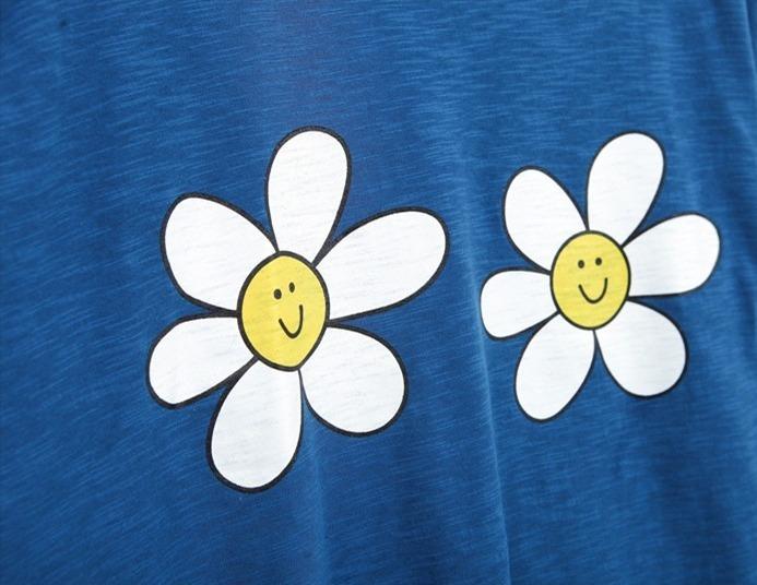 可爱笑脸向日葵花朵短袖t恤