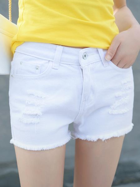 裤子,休闲裤,修身,显瘦,白色