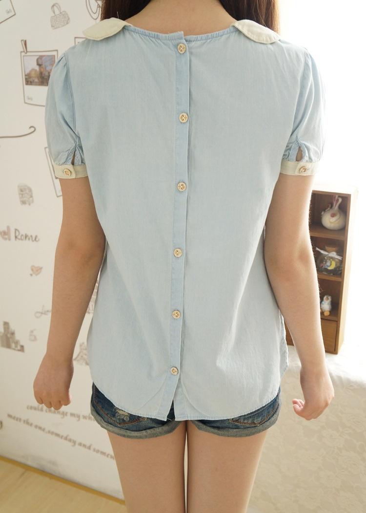 【可爱娃娃领短袖衬衫】-衣服-衬衫_上装_女装_服饰鞋