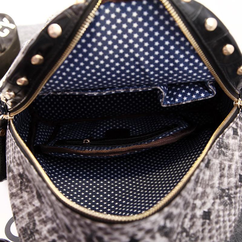 【韩国明星同款蛇纹铆钉双肩包】-包包-双肩包_女包