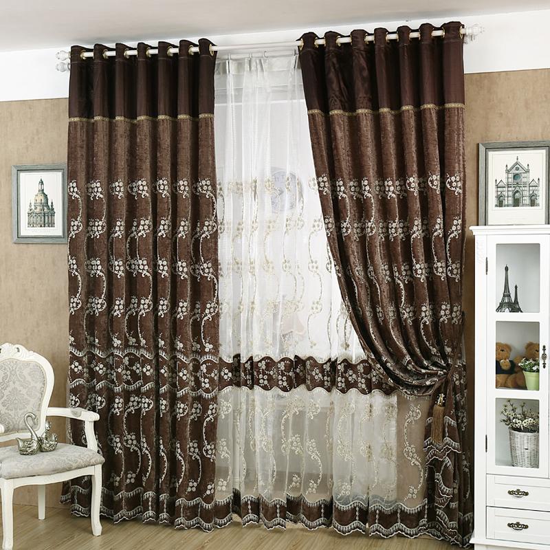 欧式客厅高档全遮光雪尼尔绣花窗帘布卧室窗帘纱成品