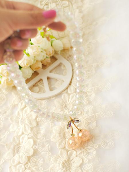【水晶透明玻璃丝粉嫩樱桃项链】-配饰-配饰
