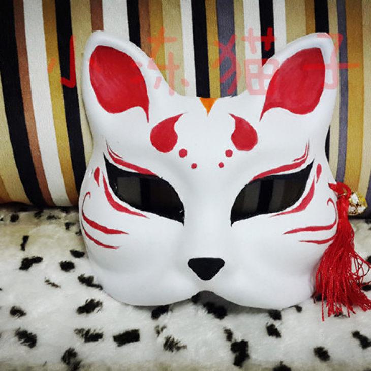 日系 手绘面具 和风面具 猫面具 狐狸面具 小冻猫子家[害羞]