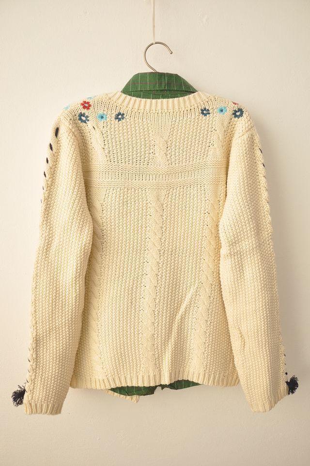 【森系小清新刺绣花朵针织开衫】-衣服-针织衫