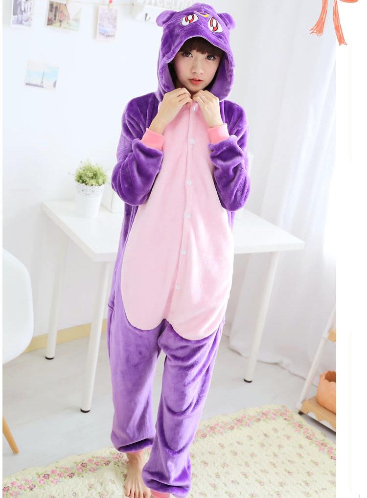 【法兰绒紫猫动物连体睡衣】-内衣-女士内衣/家居服