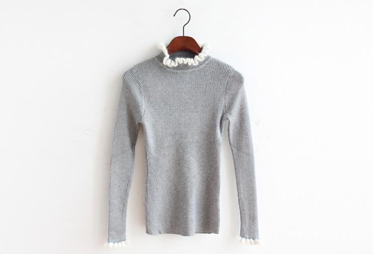 【简约纯色花边袖子针织毛衣】-衣服-其他毛衣