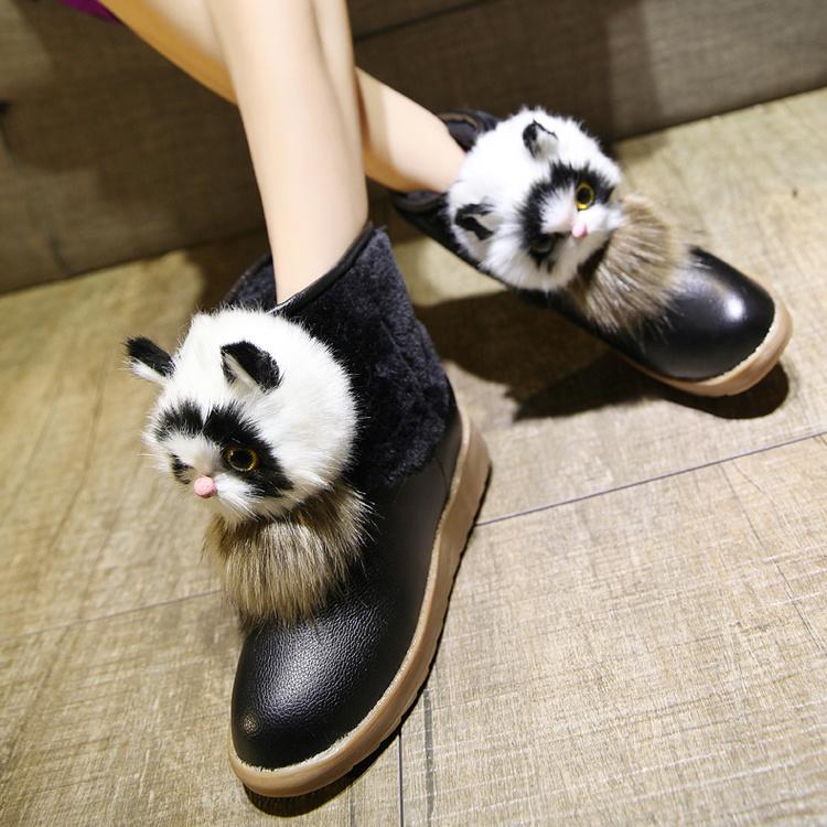 可爱猫头厚底保暖雪地靴子