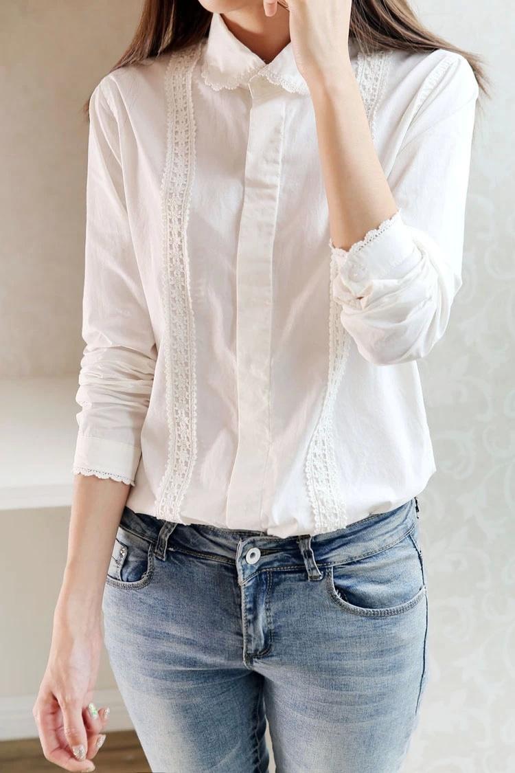 蕾丝花边小圆领衬衫