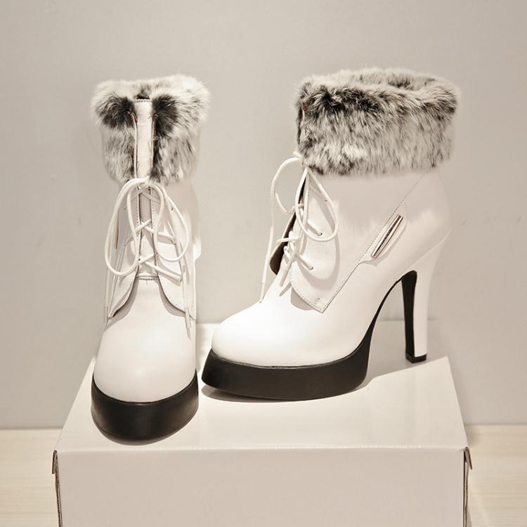 【小公主 超高跟兔毛及踝靴子】-鞋子-靴子_女鞋_服饰